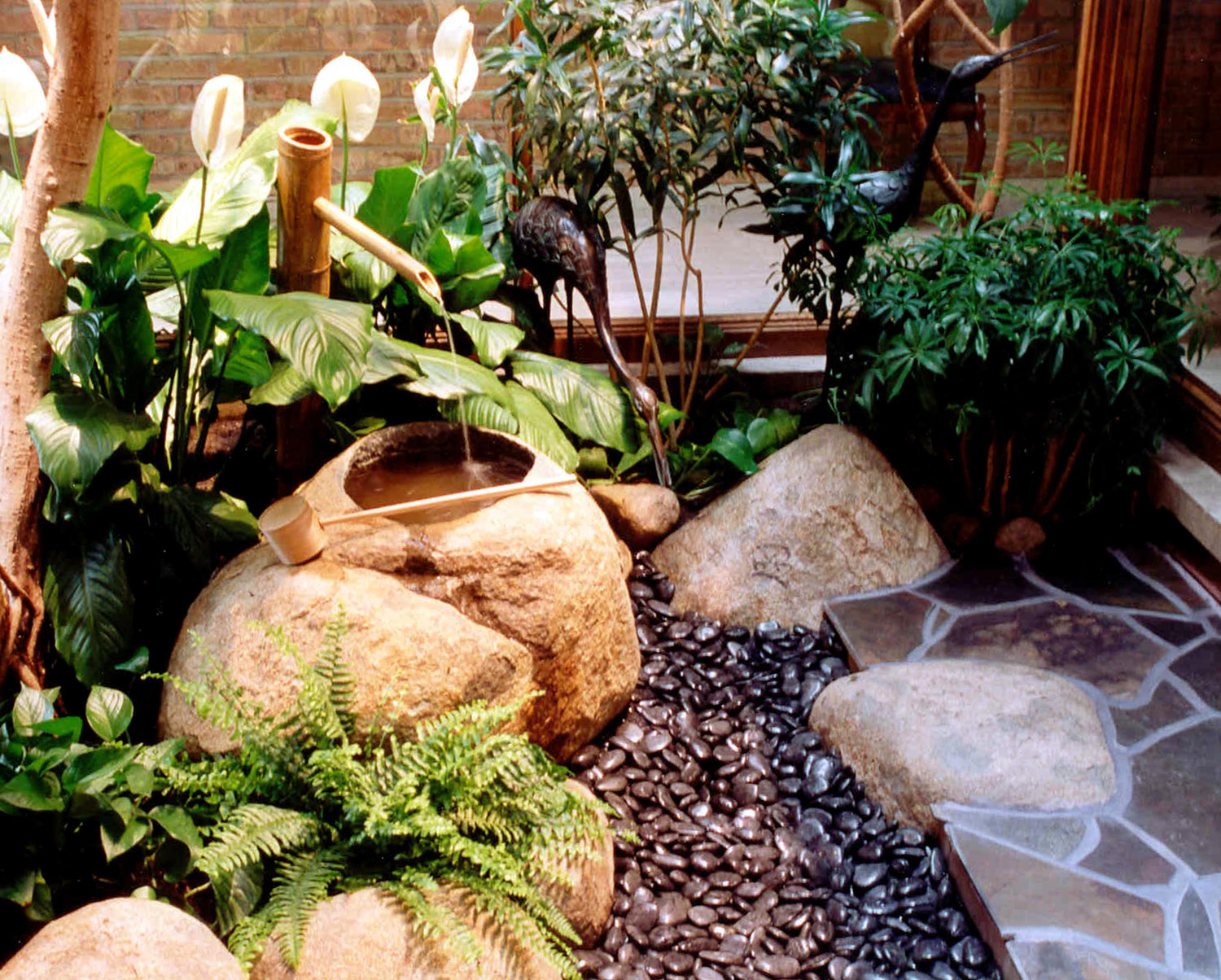 Water feature in a small area patio yard garden for Small japanese water garden