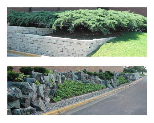 Brick entry planter, rock garden, limestone retaining wall ...