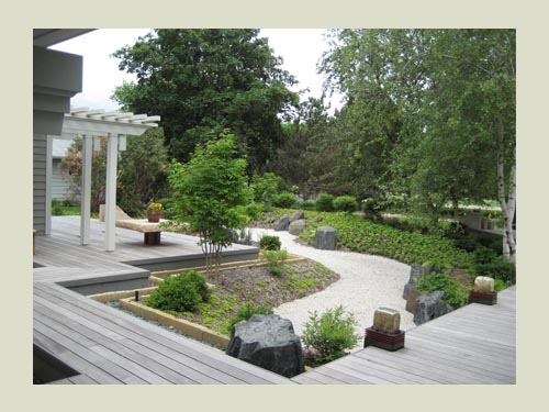 How about a dry pond for a rain water garden (Japanese Garden project)