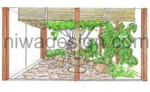 Japanese Courtyard Garden - Image Sketch